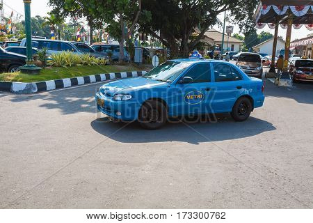 Yogyakarta, Indonesia - August, 28: Taxi Cars Waiting For Tourists Near Domestic Airport
