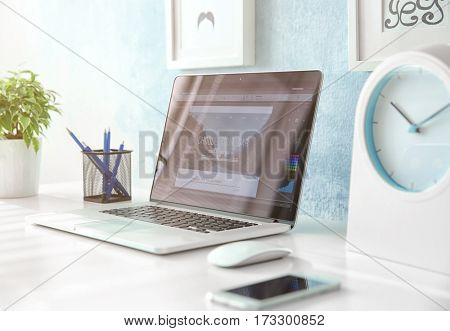 Comfortable workplace with laptop