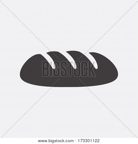 Bread. Vector icon isolated on grey background.