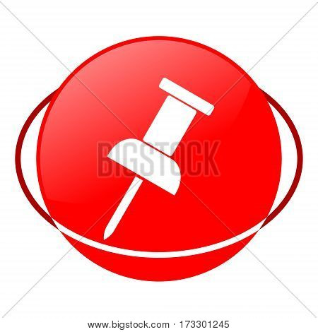 Red icon, pushpin vector illustration on white background