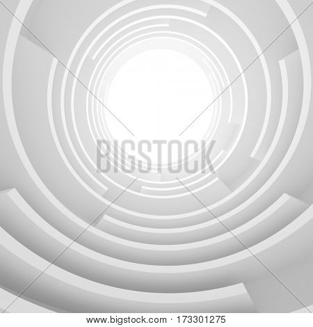 Abstract Architecture Background. 3d Rendering of White Circular Tunnel Building. Creative Engineering Concept