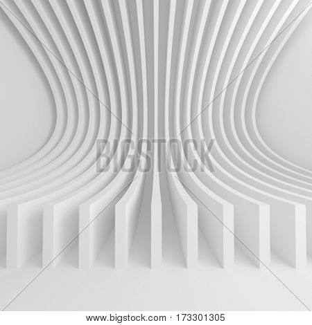 3d Rendering of Abstract Architecture Background. White Circular Building. Creative Engineering Concept
