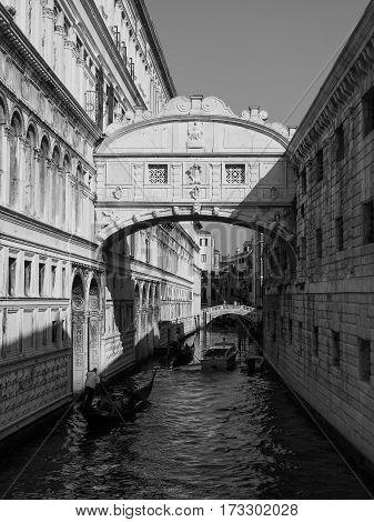 Bridge Of Sighs In Venice In Black And White