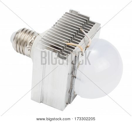 Diy led lamp with huge heatsink on it. Ugly and messy fast handmade assembly. High power led with half-spherical diffuser used.