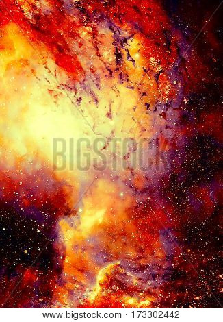 Cosmic space and stars, color cosmic abstract background. Fire effect in space. Copy space