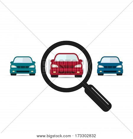 Search car sign vector. Magnifying glass with car. Search car symbol. Looking for transport. Selection a car among others vehicles illustration.
