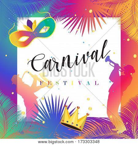 Carnival, Music Festival, Masquerade poster, invitation design. Design with confetti, musicians, carnival mask, crown, carnival symbols. Brazilian Carnival festival banner. Vector illustration