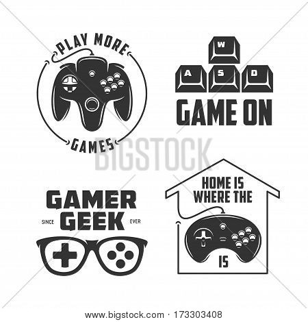Retro video games related t-shirt design set. Monochrome joystick set. Quotes about gaming. Gamer geek glasses. Vector vintage illustration.
