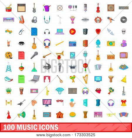 100 music icons set in cartoon style for any design vector illustration