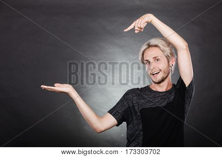 Guy Holding Empty Hand Copy Space For Product
