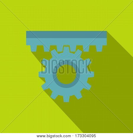 One gear icon. Flat illustration of one gear vector icon for web