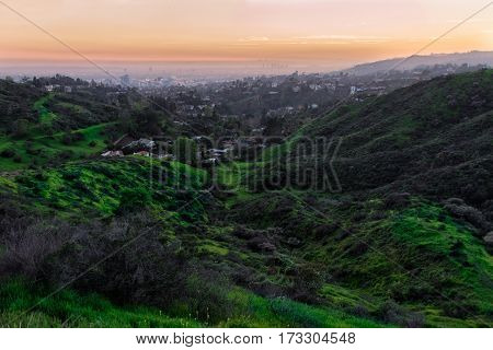 Beautiful nature landscape with hills and green grass and Los Angeles City in valley at sunset time