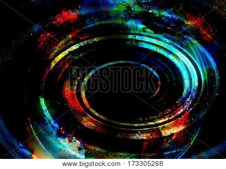 centripetal circle shapes on abstract colorful cosmic backgroung