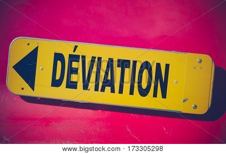 Retro Style Vibrant Red And Yellow French Detour Sign Saying Déviation