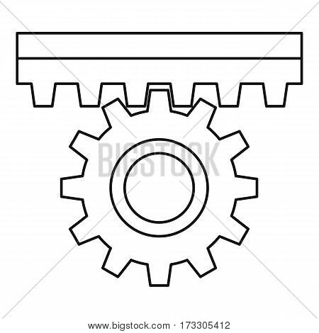 One gear icon. Outline illustration of one gear vector icon for web