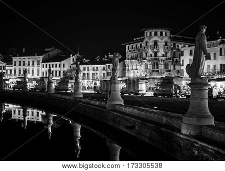 Padua Italy - January 21 2017: Canal of Prato della Valle square at night Padua north Italy.