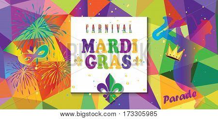 Mardi Gras Carnival, Music Festival, Masquerade poster, invitation design. Design with confetti, fireworks, carnival mask, crown, fleur de lis symbols, abstract triangle pattern.
