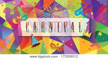 Brazilian Carnival, Music Festival, Masquerade poster, invitation design. Design with confetti, carnival mask, crown, fireworks, abstract triangle pattern. Vector