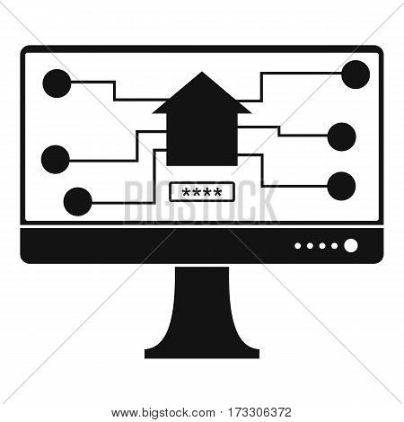 Monitor chip icon. Simple illustration of monitor chip vector icon for web