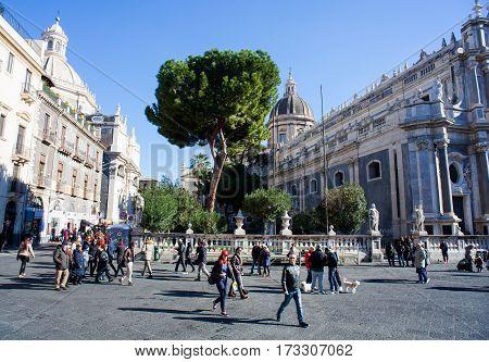 CATANIA ITALY - JANUARY 01: View of Catania cathedral on January 01 2017