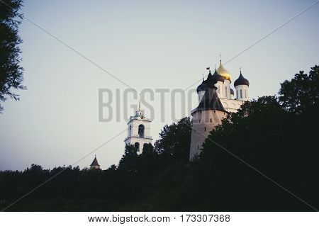 Trinity Cathedral Pskov. Pskov Kremlin Russia. Ancient Fortress On The River Bank