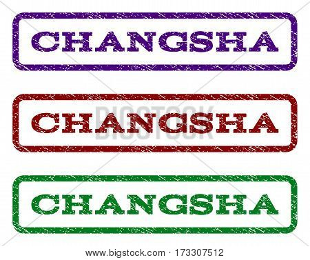 Changsha watermark stamp. Text tag inside rounded rectangle frame with grunge design style. Vector variants are indigo blue red green ink colors. Rubber seal stamp with unclean texture.
