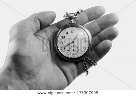 Black And White View Of Old Vintage Pocket Watch In My Hand