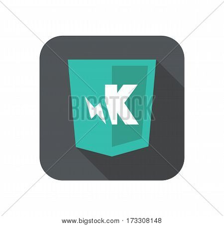 web development shield sign K letter and lighting symbol isolated icon on grey badge with long shadow