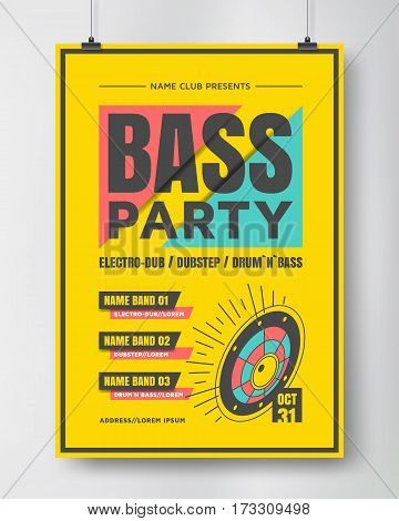 Bass party poster . Electronic music show. Drum and bass flyer design. Vector