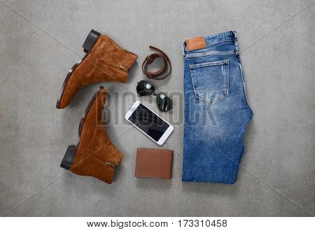 Men's casual outfits and accessory, on gray background
