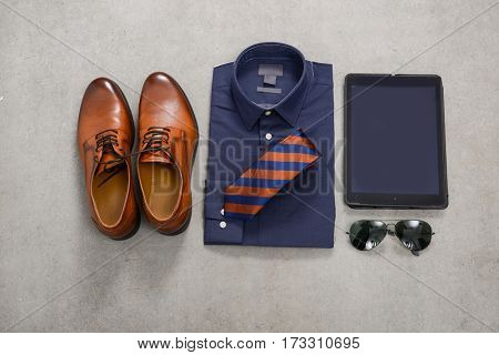 Men's Fashion and with accessories -gray background