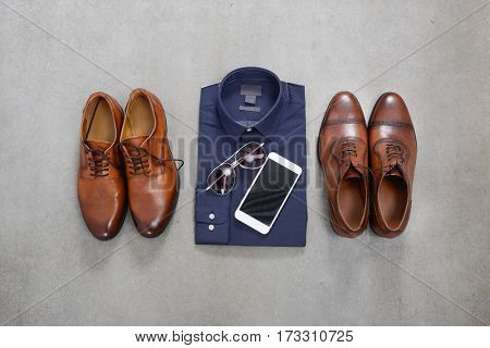 Men's Fashions on gray background