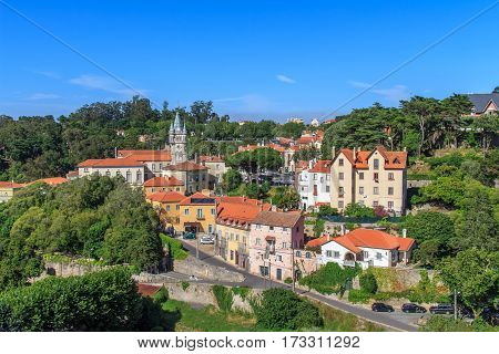 View of the center of Sintra Historico in Portugal
