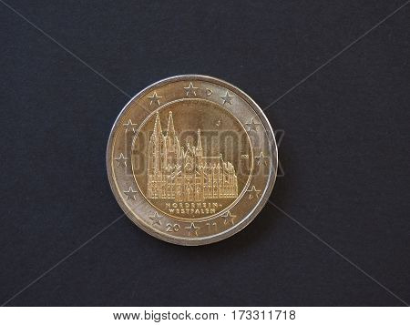 2 EUR commemorative coin from Germany showing the cathedral of Cologne