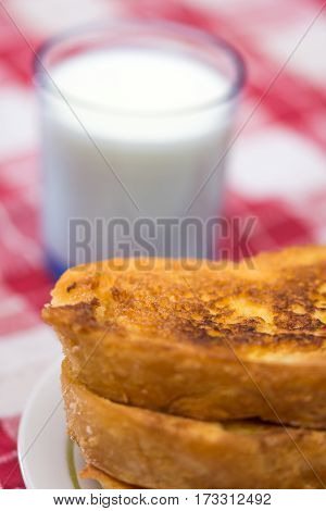 French Toast With Glass Of Yogurt On The Table