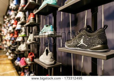New York February 21 2017: Assorted Air Jordan basketball shoes for sale in the NBA store in Manhattan.