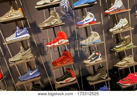 New York February 21 2017: Assorted Nike basketball shoes for sale in the NBA store in Manhattan.