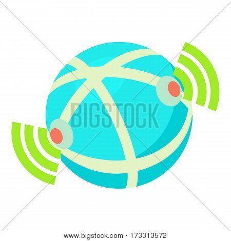 Globe database icon. Cartoon illustration of globe database vector icon for web