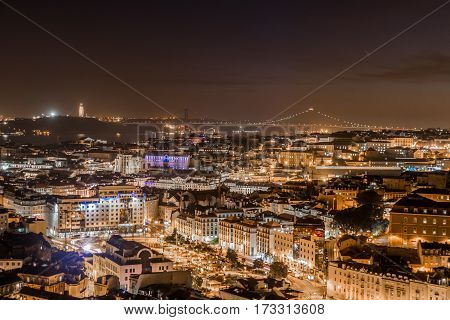 View of the city of Lisbon at Sunset,Portugal