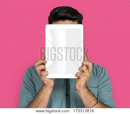 Man Hold Blank Digital Tablet Copy Space