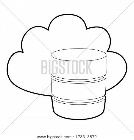 Big cloud database icon. Outline illustration of big cloud database vector icon for web