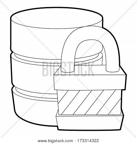 Blocked database icon. Outline illustration of blocked database vector icon for web