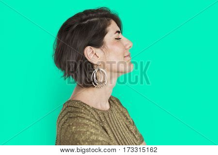 Caucasian Lady Smiling Happy Side View