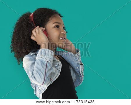 Little Girl Listening To Music Headphones