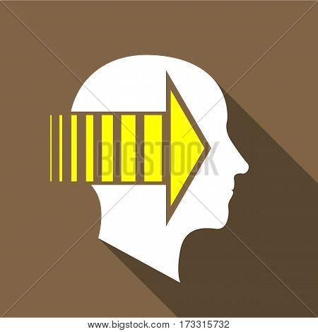 Thinking brain icon. Flat illustration of thinking brain vector icon for web
