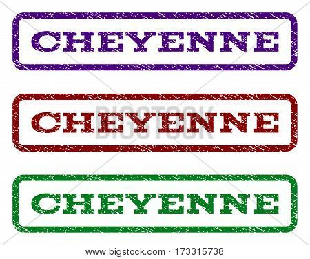 Cheyenne watermark stamp. Text tag inside rounded rectangle frame with grunge design style. Vector variants are indigo blue red green ink colors. Rubber seal stamp with unclean texture.