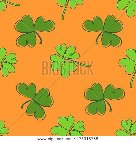 Clover Seamless Pattern. Clover Pattern With Three And Four Leaf Green On Orange Background. St. Pat