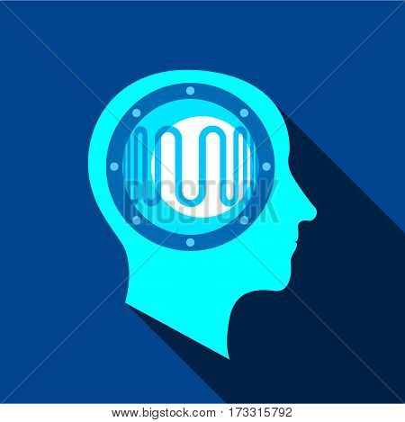 Clever brain icon. Flat illustration of clever brain vector icon for web