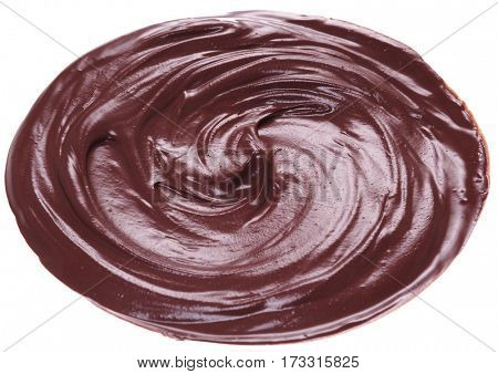 Melted chocolate or chocolate glaze isolated on a white background.