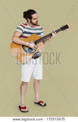 Man Playing Guitar Music Instrument Entertainment